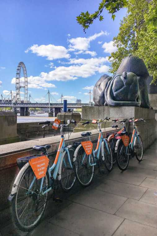 Three bikes parked by the river next to an egyptian statue and the London Eye in the background