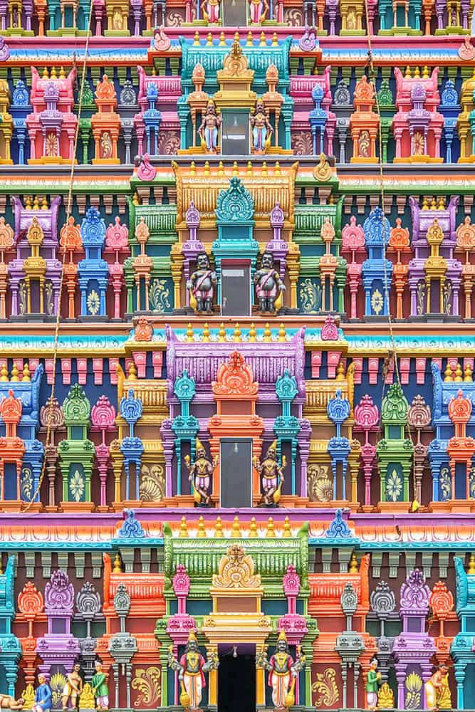 Detail of colourful sculptures of a hindu temple