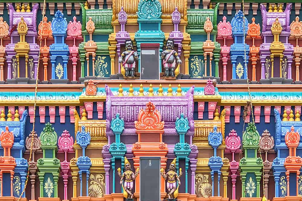 Colourful sculptured temple detail. One of the top things to do in Jaffna is visiting some of its incredible Hindu temples