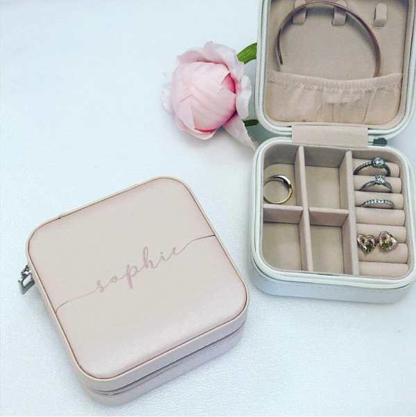 Small pink travel jewellery box with personalised name Sophie on the lid