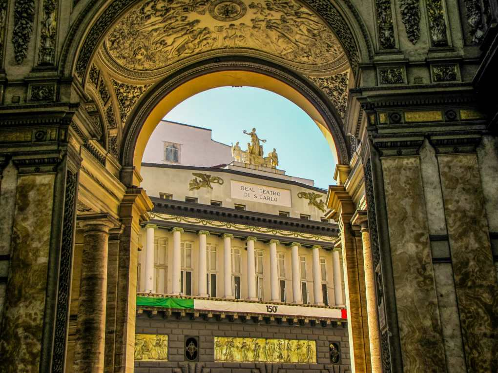 Real Teatro di San Carlo as seen from the Galleria Umberto I on the 150th anniversary of the Unity of Italy