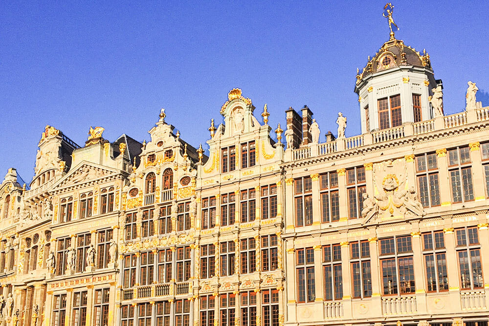 Facades of guild houses in Brussels. They can bee seen on a day trip from London by train