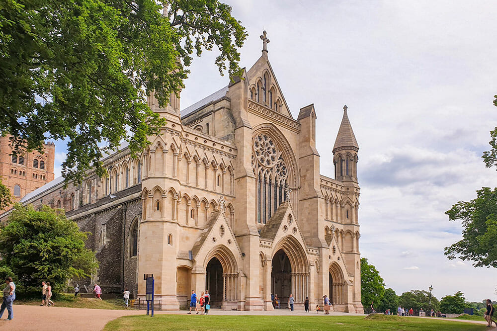 Gothic cathedral with a park around it