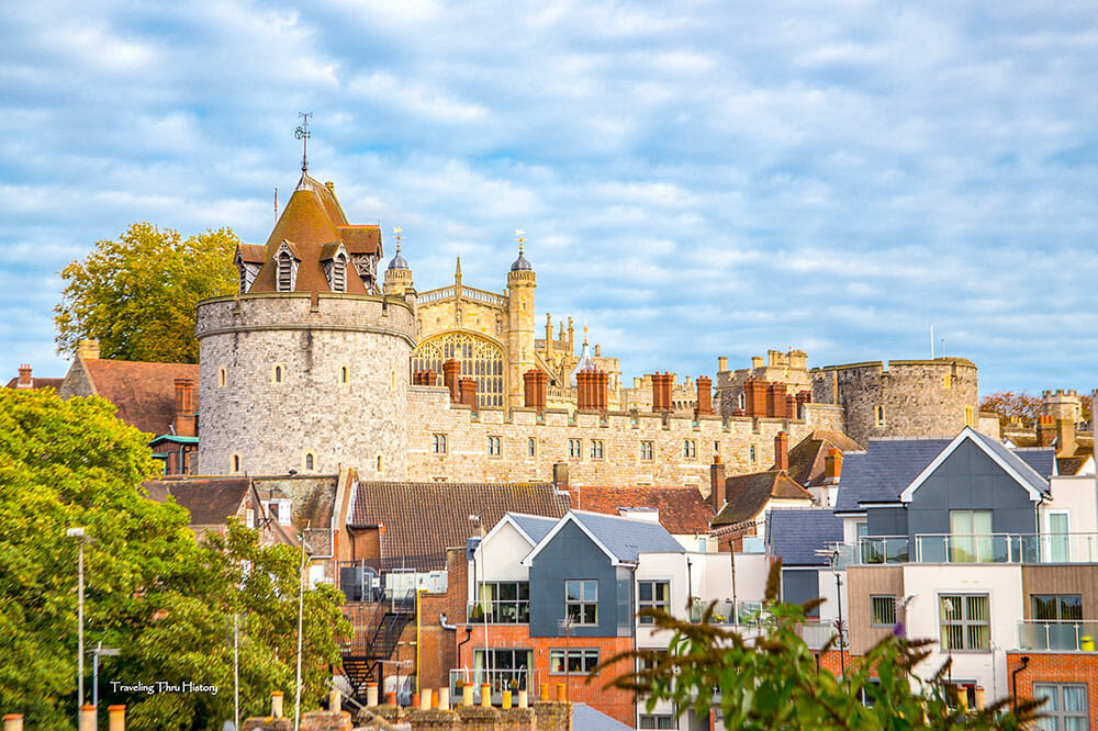 Windsor Castle with houses around it
