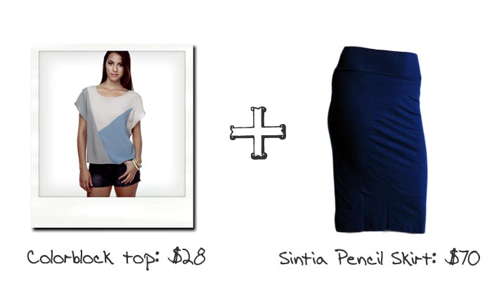 Boxy Tops & Pencil Skirts - Blue and Gray