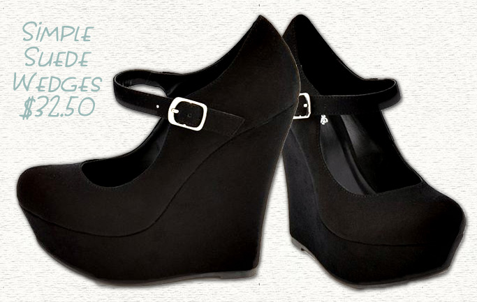 Simple Black Suede Mary-Jane Wedges - $32.50