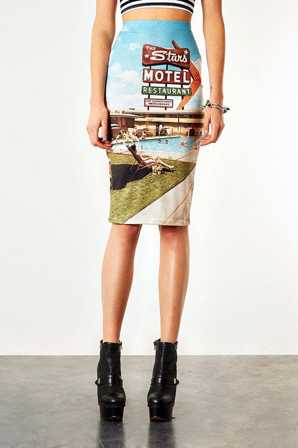 Motel Print Skirt Topshop