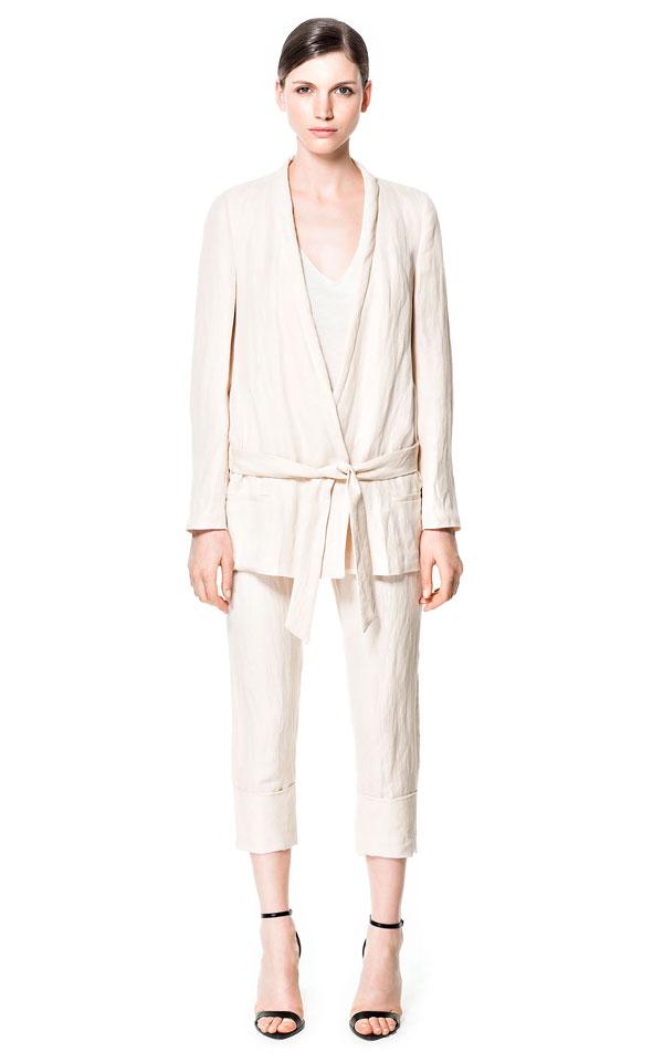 ZARA Linen Wrap Suit