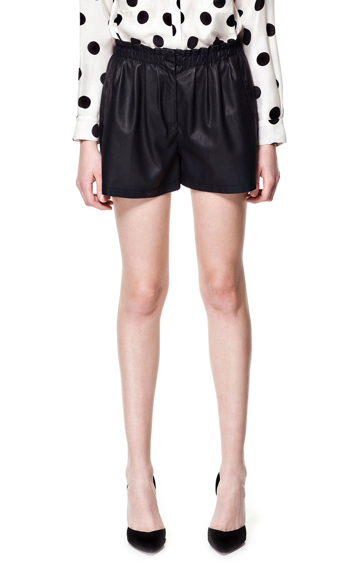 ZARA Leather Look Shorts