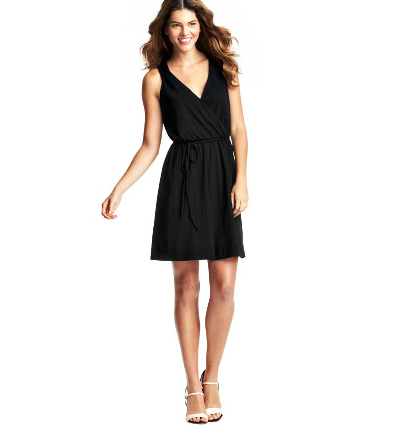 LOFT Braided Tie Waist Black Dress