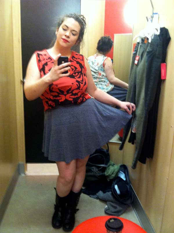 Trying on Tiger with Skater Skirt
