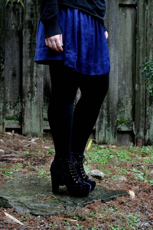 I'm Wearing: Silk Skirt & Velvet Boots