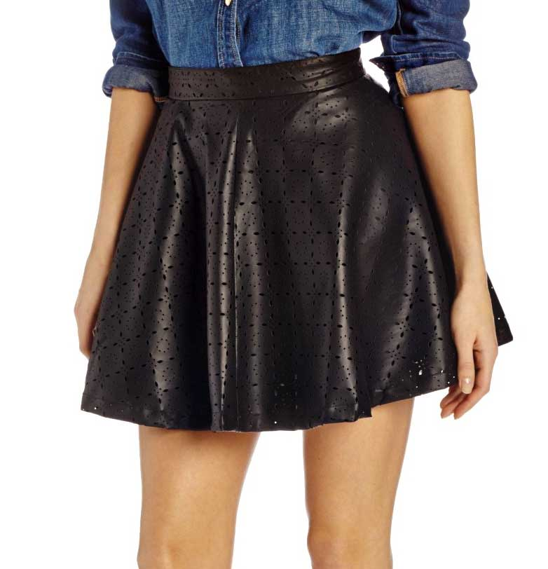 Jack by BB Dakota Perforated Faux Leather Skirt