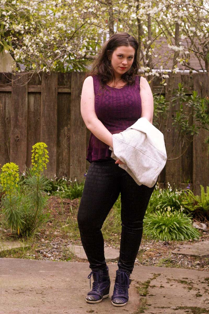 I'm Wearing: Sheer Peplum Top & Satin Jean Leggings