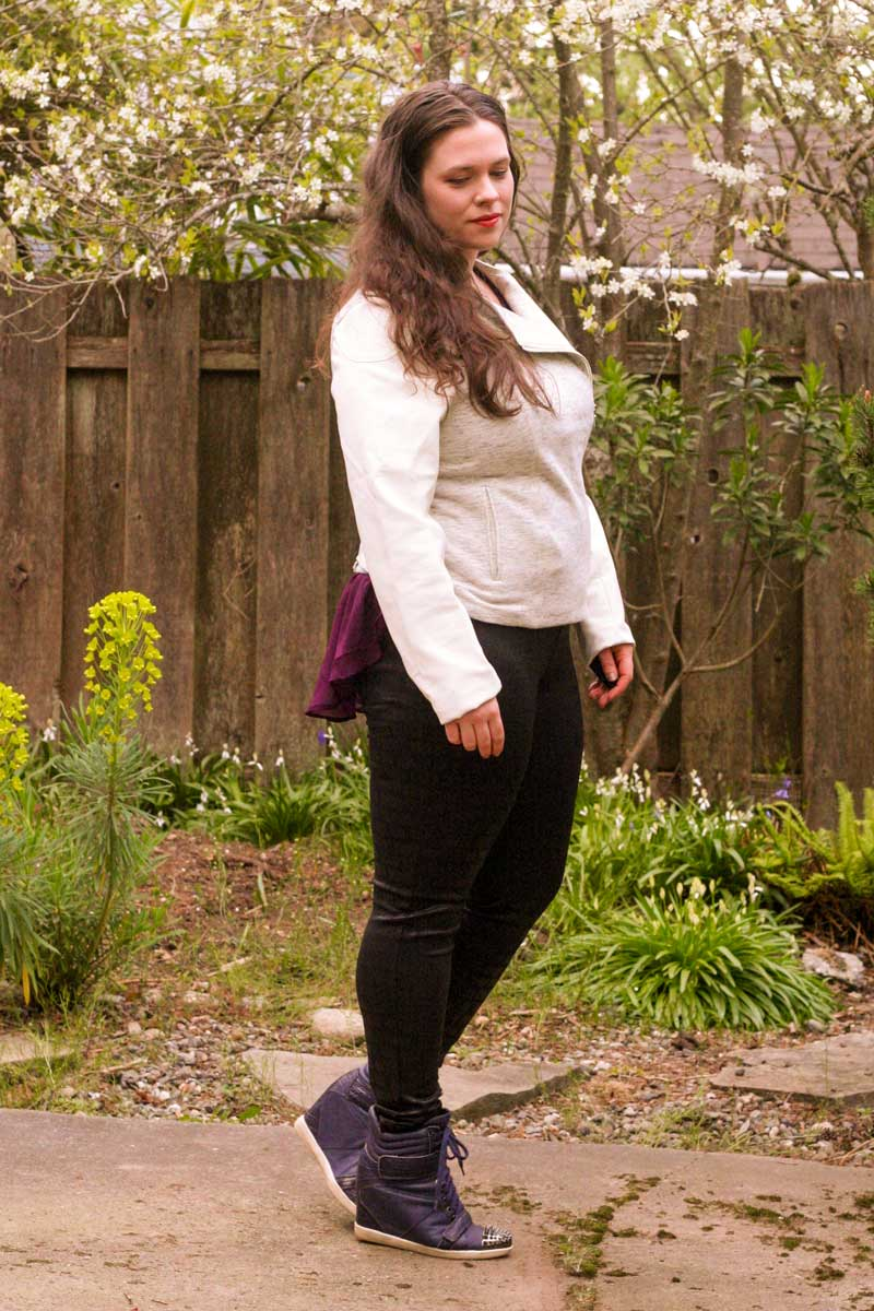 I'm Wearing: Satin Jean Leggings and White Faux Leather Moto Jacket
