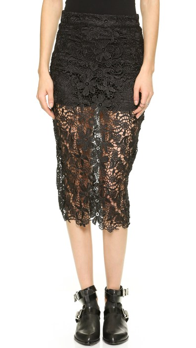 re:named Lace Overlay Skirt Black