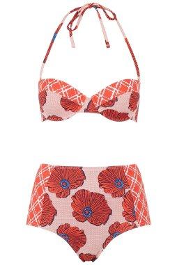 Topshop Poppy Check Bustier Bikini Set, $65