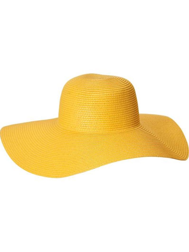 Old Navy Yellow Floppy Straw Suns Hat, $18
