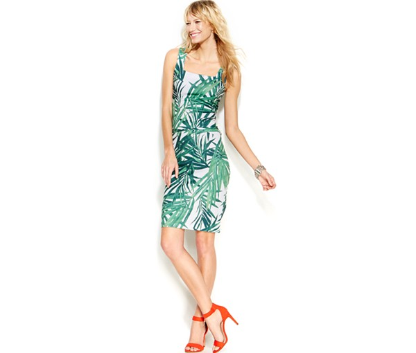 INC Printed Palm Leaf Dress