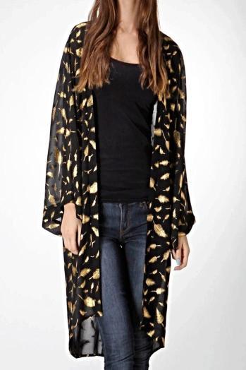 Honey Punch Golden Feather Kimono Cardigan, $36