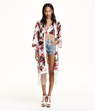 H&M Floral Patterned Kimono Cardigan, $25