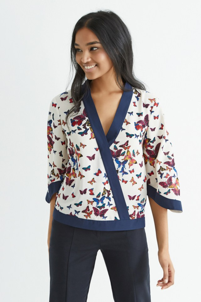 Kimono Inspired Butterfly Wrap Top