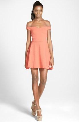 MinkPink Sweetheart Fit & Flare Off Shoulder Dress, $47.40 (was $79)
