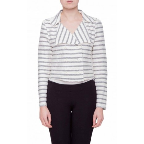 Cropped French Terry Double Breasted Jacket, $27.99 $16.79 (was $58)