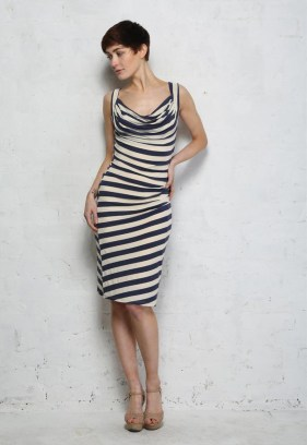 Eucalyptus Navy Striped Dress, $60.35