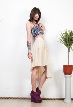 Pop Sick Upcycled Asymmetrical Silk Skirt, $42.25