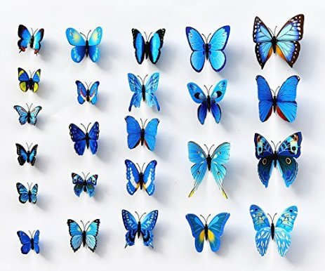 24 Blue Butterfly Wall Decals