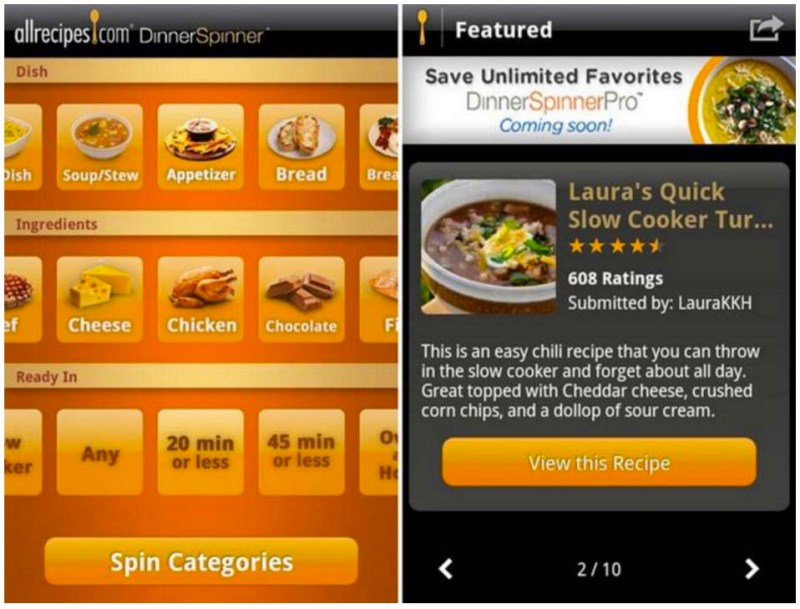 App - AllRecipes Dinner Spinner