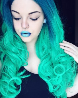 Queer Trash Teal Blue Neon Mermaid Hair