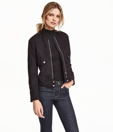 HM Faux Suede Black Jacket on Model