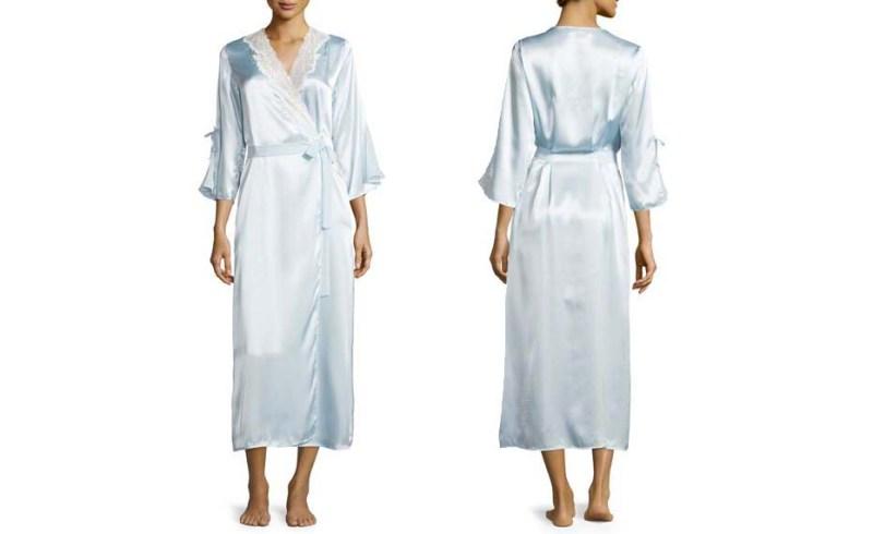 oscar de la renta light blue satin robe