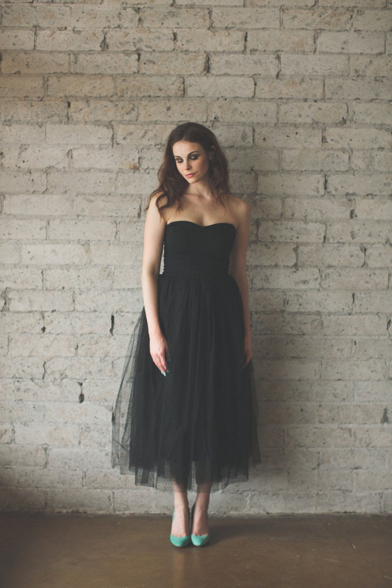 black-tulle-strapless-ankle-length-vintage-bridesmaid-dress-1