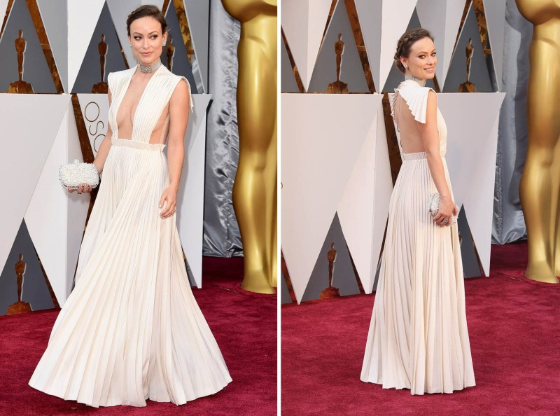 olivia-wilde-pleated-white-celebrity-prom-dress-2016-oscars-red-carpet