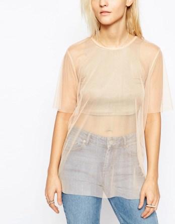 sheer t-shirt chiffon silk hip length tunic