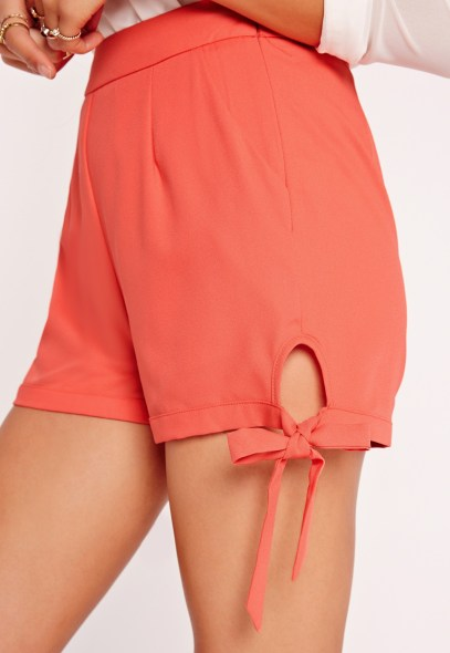 Missguided High Waisted Tie Shorts Orange