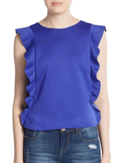Saks Fifth Ave RED Cobalt Blue Ruffle Top