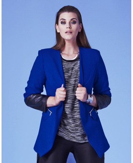 Simply Be Cobalt Blue Faux Leather Sleeve Blazer Jacket