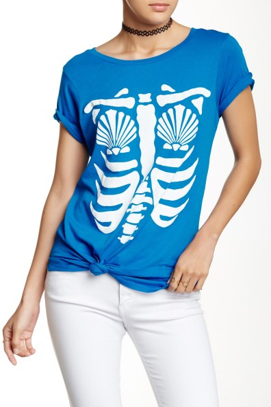 Wildfox Mermaid Xray Graphic Tee Cobalt Blue