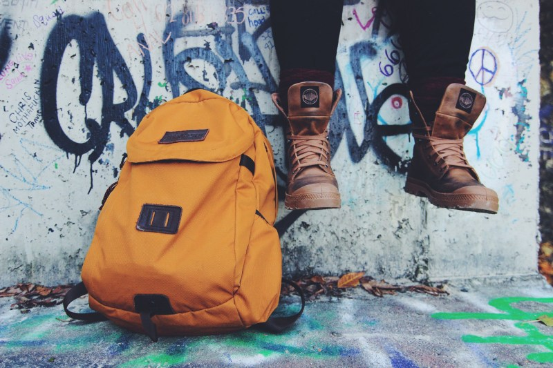 sneakers backpack graffiti wall shoes