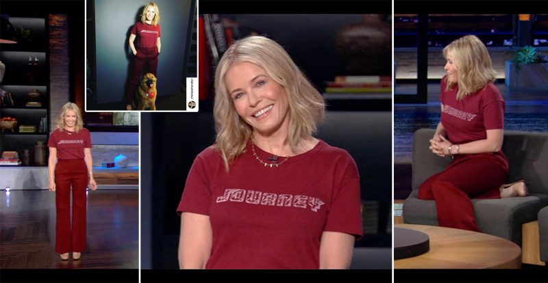 Chelsea Handler's Netflix Style: Red Journey Tee and Wide Leg Pants