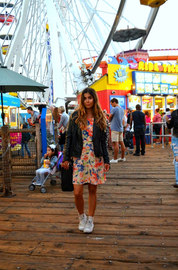 converse shoes high tops outfit inspiration leather jacket carnival fair floral dress blogger style