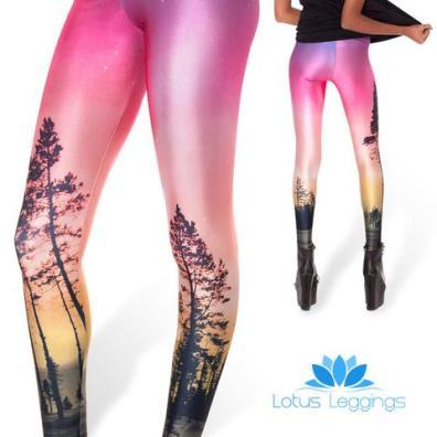 Lotus Leggings Enchanted Forest Leggings in Pink to Yellow