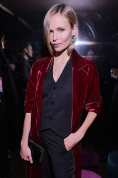 Natasha Poly at Chrome Hearts x Bella Hadid Collab in Velvet Jacket