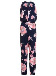 Navy and Pink Flower High Neck Jumpsuit, $58.08