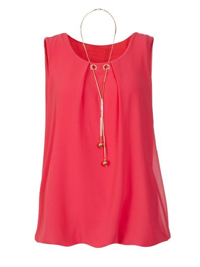 Coral Chiffon Necklace Bubble Top, $38.16