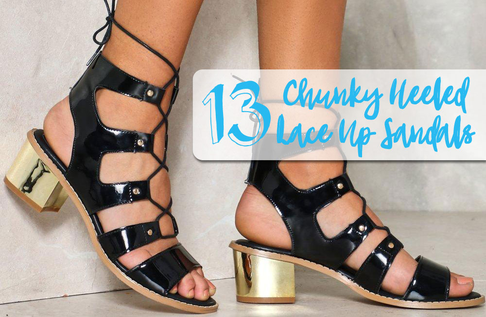 1d9f39e4782 13 Lace-Up Sandals with Chunky Block Heels Under  100